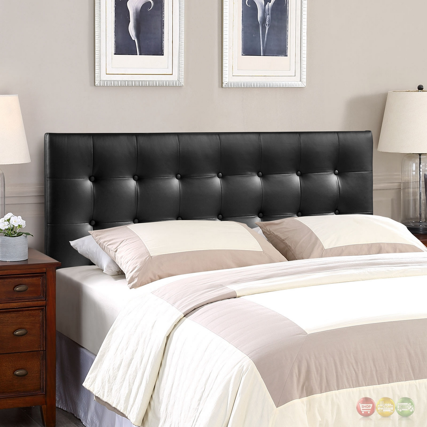 Emily Modern Button Tufted Faux Leather Full Headboard Black