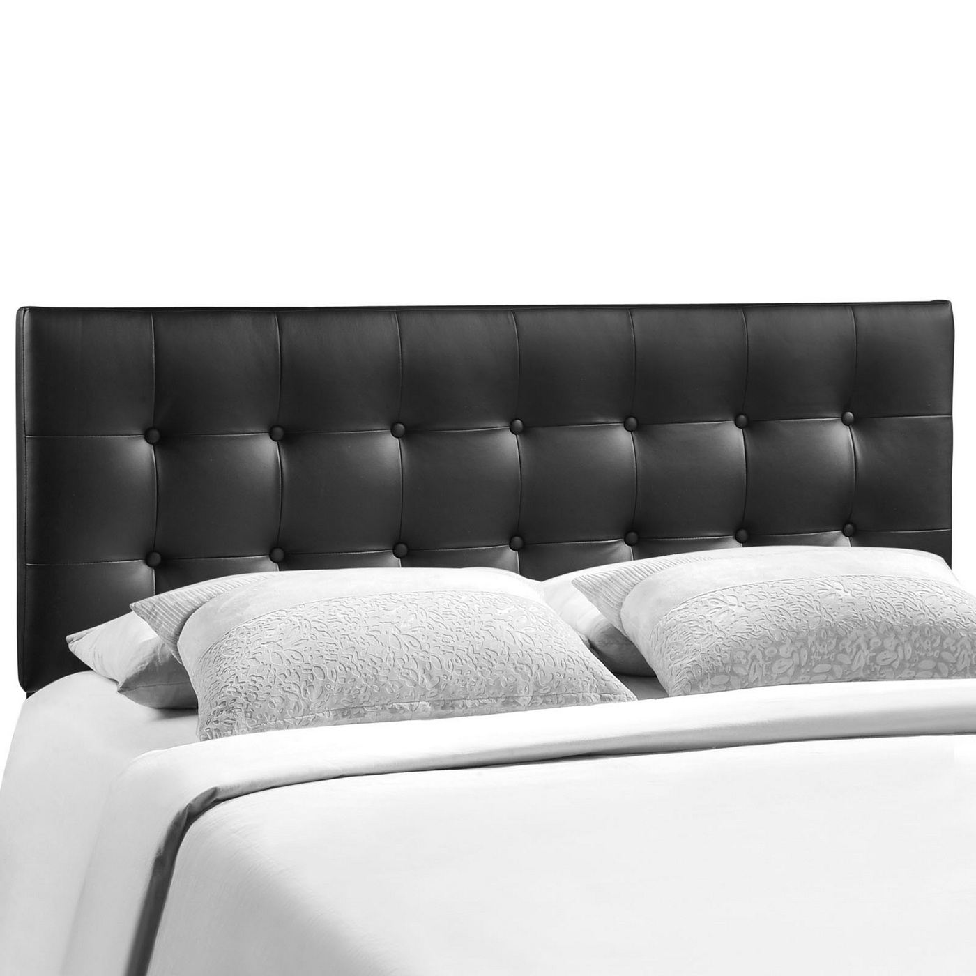 emily modern button tufted king faux leather headboard black. Black Bedroom Furniture Sets. Home Design Ideas