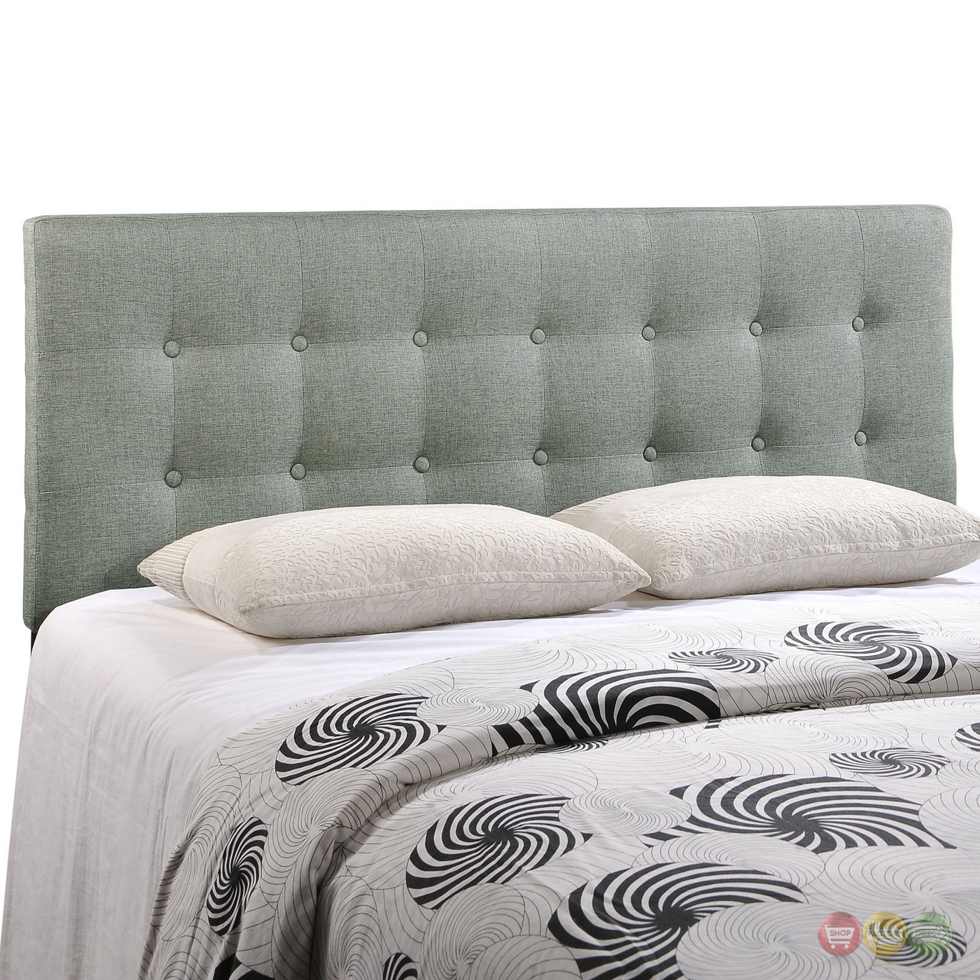 emily modern button tufted queen fabric headboard gray. Black Bedroom Furniture Sets. Home Design Ideas