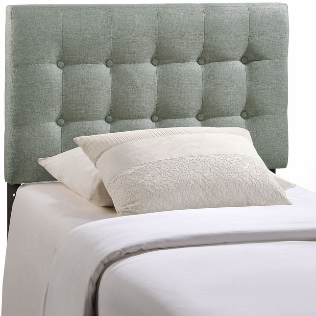 Emily Modern Button-tufted Twin Fabric Headboard, Gray
