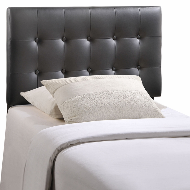 Emily Modern Button-tufted Twin Faux Leather Headboard, Black