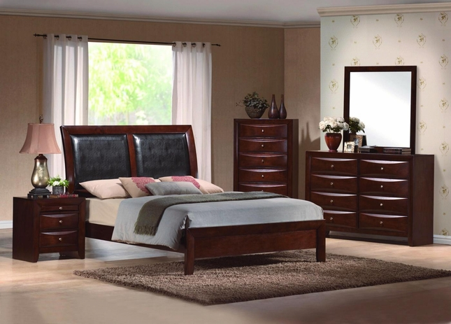 Emily Upholstered Low Profile Bed Contemporary Bedroom Set|Free ...