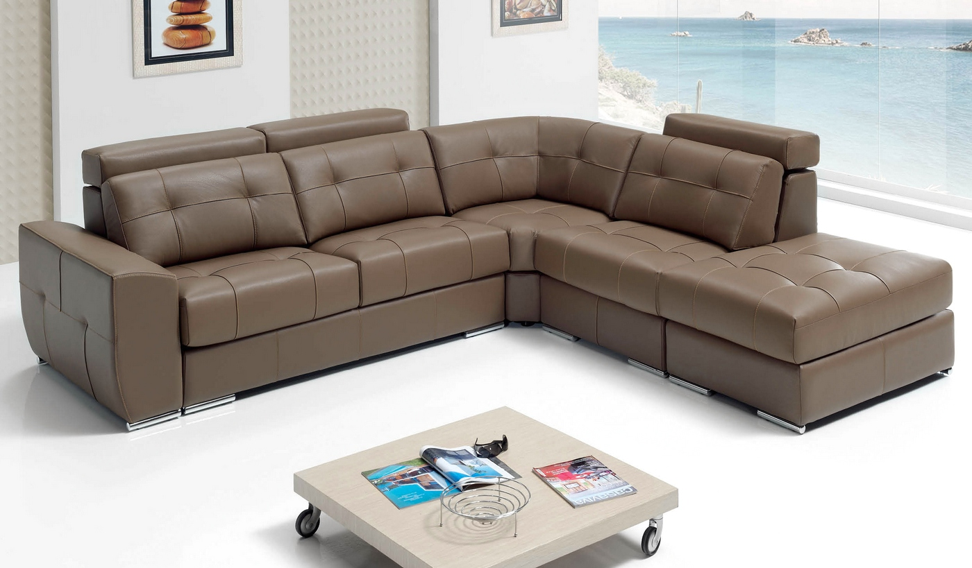 Emma Sectional Sleeper Sofa In Beige Top Grain Leather