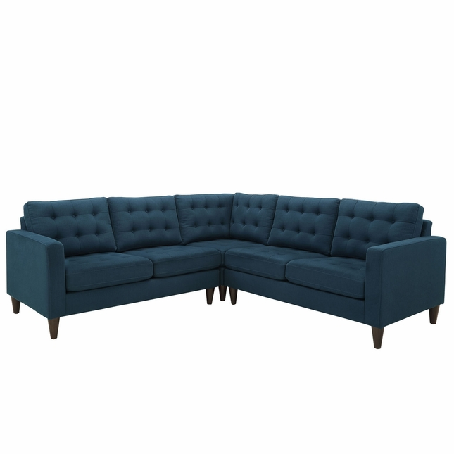 Mid-Century Modern Empress 3 Piece Button-Tufted Sectional Sofa Set, Azure