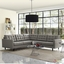 Mid-Century Modern Empress 3 Piece Button-Tufted Sectional Sofa Set, Granite