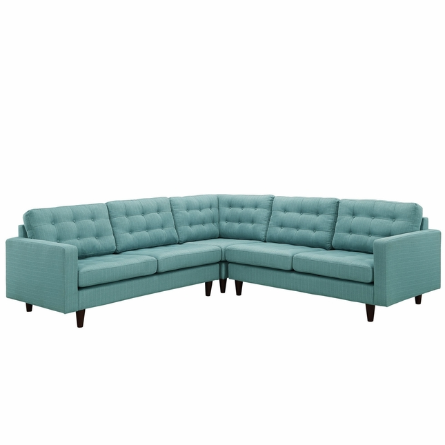 Mid-Century Modern Empress 3 Piece Button-Tufted Sectional Sofa Set, Laguna