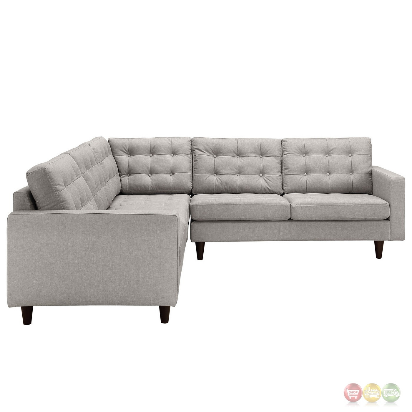 empress 3 piece button tufted upholstered sectional sofa set light gray. Black Bedroom Furniture Sets. Home Design Ideas