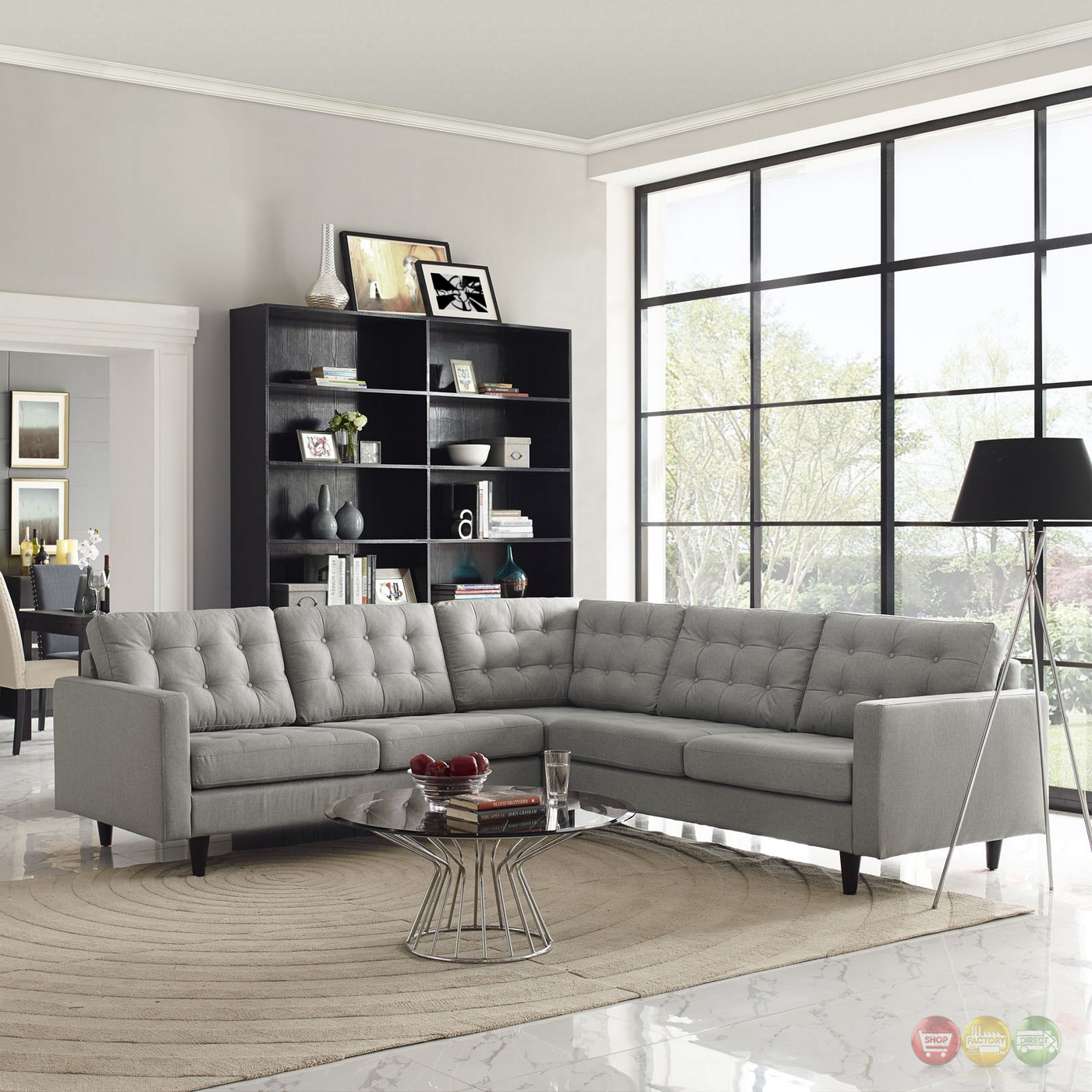 mid century modern empress 3 piece button tufted sectional. Black Bedroom Furniture Sets. Home Design Ideas
