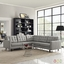 Mid-Century Modern Empress 3 Piece Button-Tufted Sectional Sofa Set, Light Gray