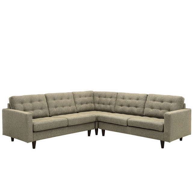 Mid-Century Modern Empress 3 Piece Button-Tufted Sectional Sofa Set, Oatmeal