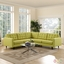 Mid-Century Modern Empress 3 Piece Button-Tufted Sectional Sofa Set, Wheatgrass