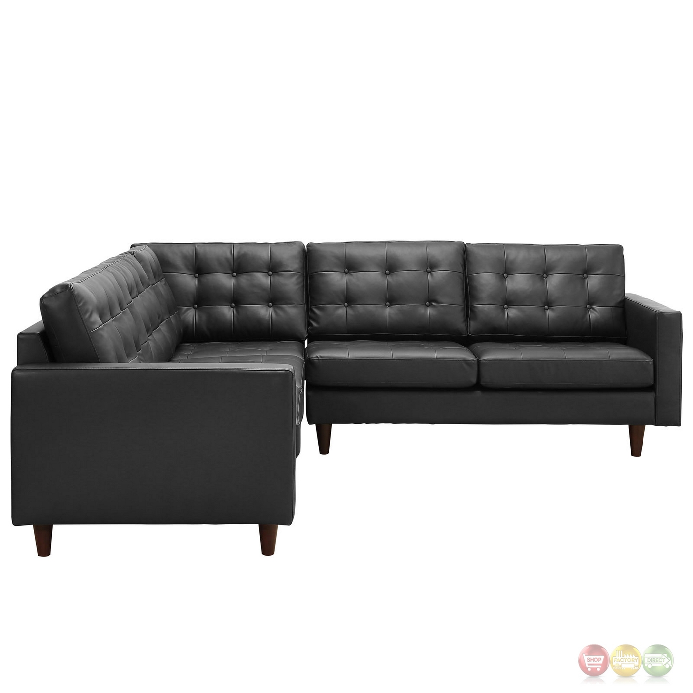 Mid Century Modern Bonded Leather Living Room Sofa Camel: Mid-Century Modern Empress 3pc Bonded Leather Sectional