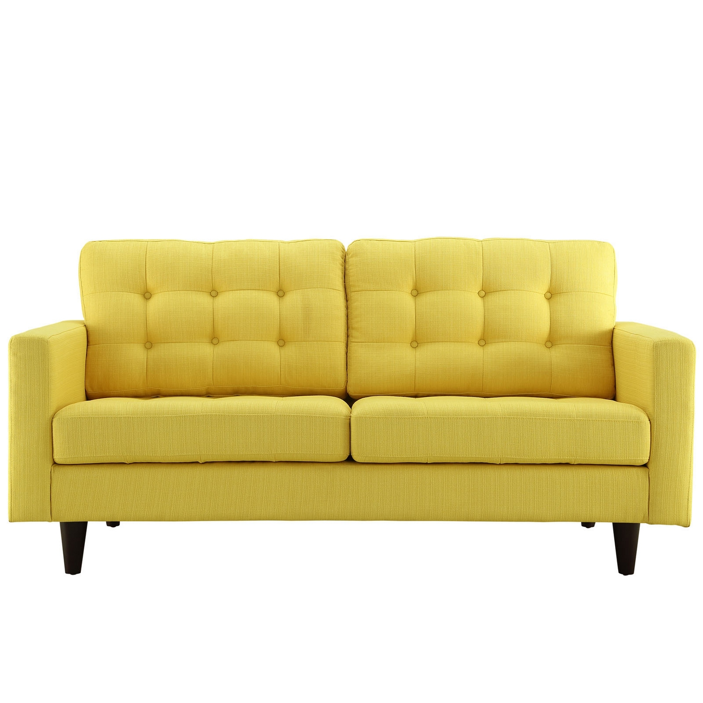 Empress Button Tufted Upholstered Loveseat With Wood Legs Sunny