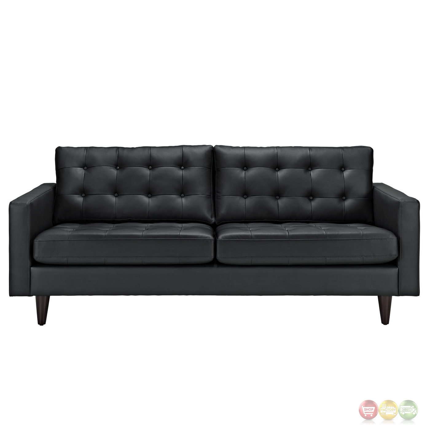 empress contemporary button tufted leather sofa black. Black Bedroom Furniture Sets. Home Design Ideas