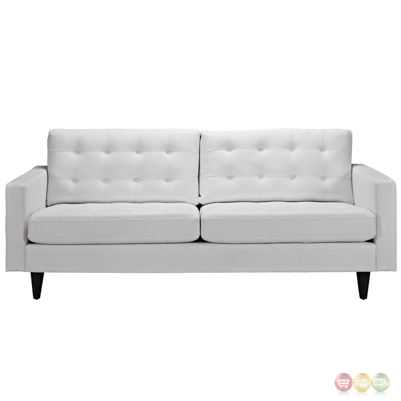 Enfield Modern White Leather Sofa: Mid-Century Modern Empress Contemporary Button-Tufted