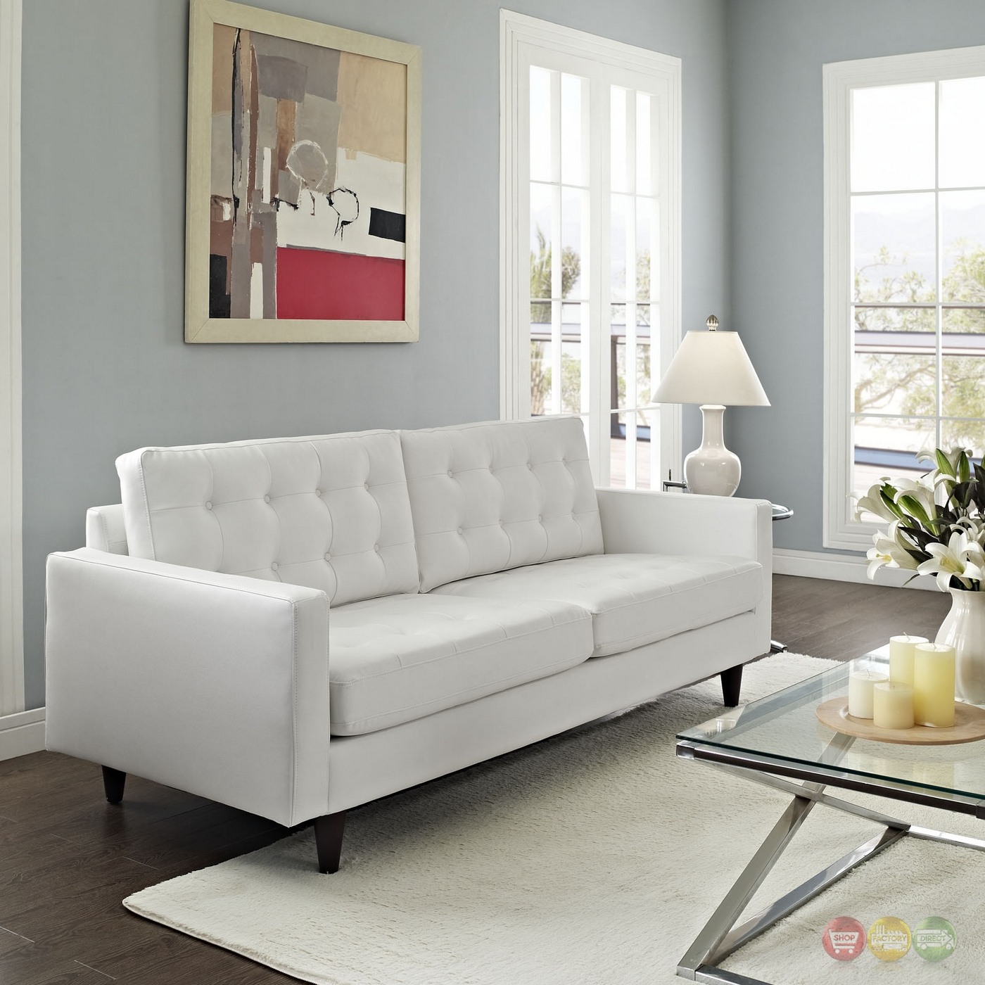 Empress contemporary button tufted leather sofa white for Modern white furniture
