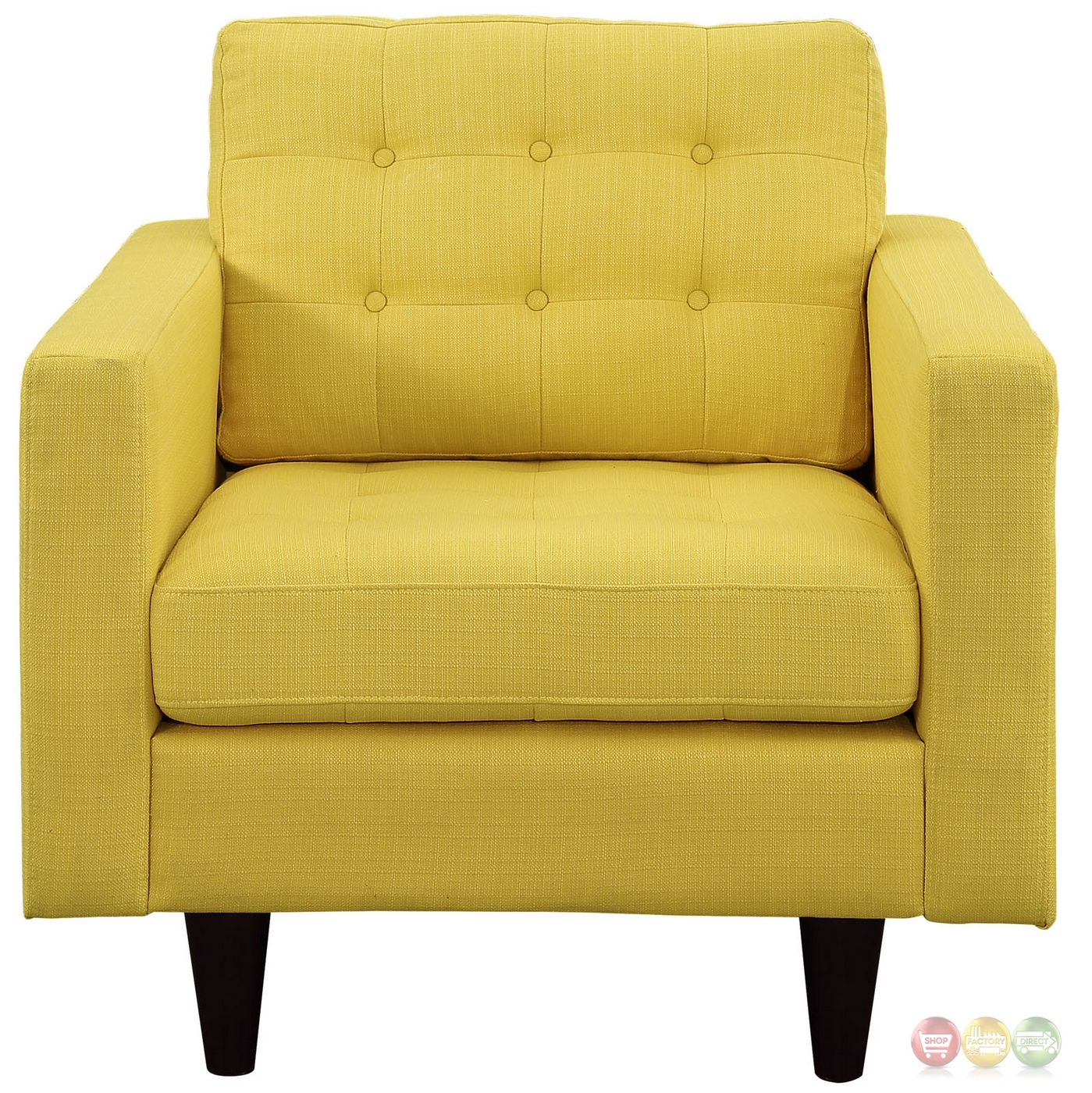 Empress contemporary button tufted upholstered armchair sunny for Armchair builder