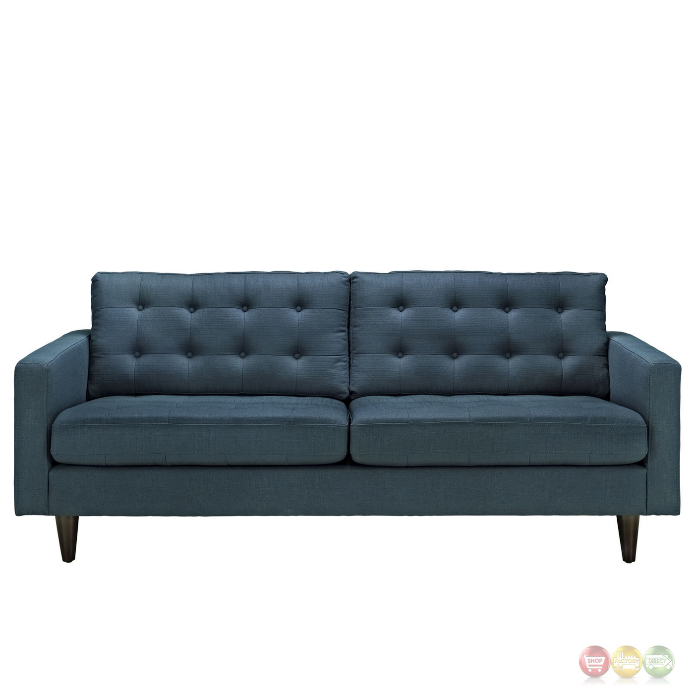 Empress contemporary button tufted upholstered sofa azure for Modern love seats
