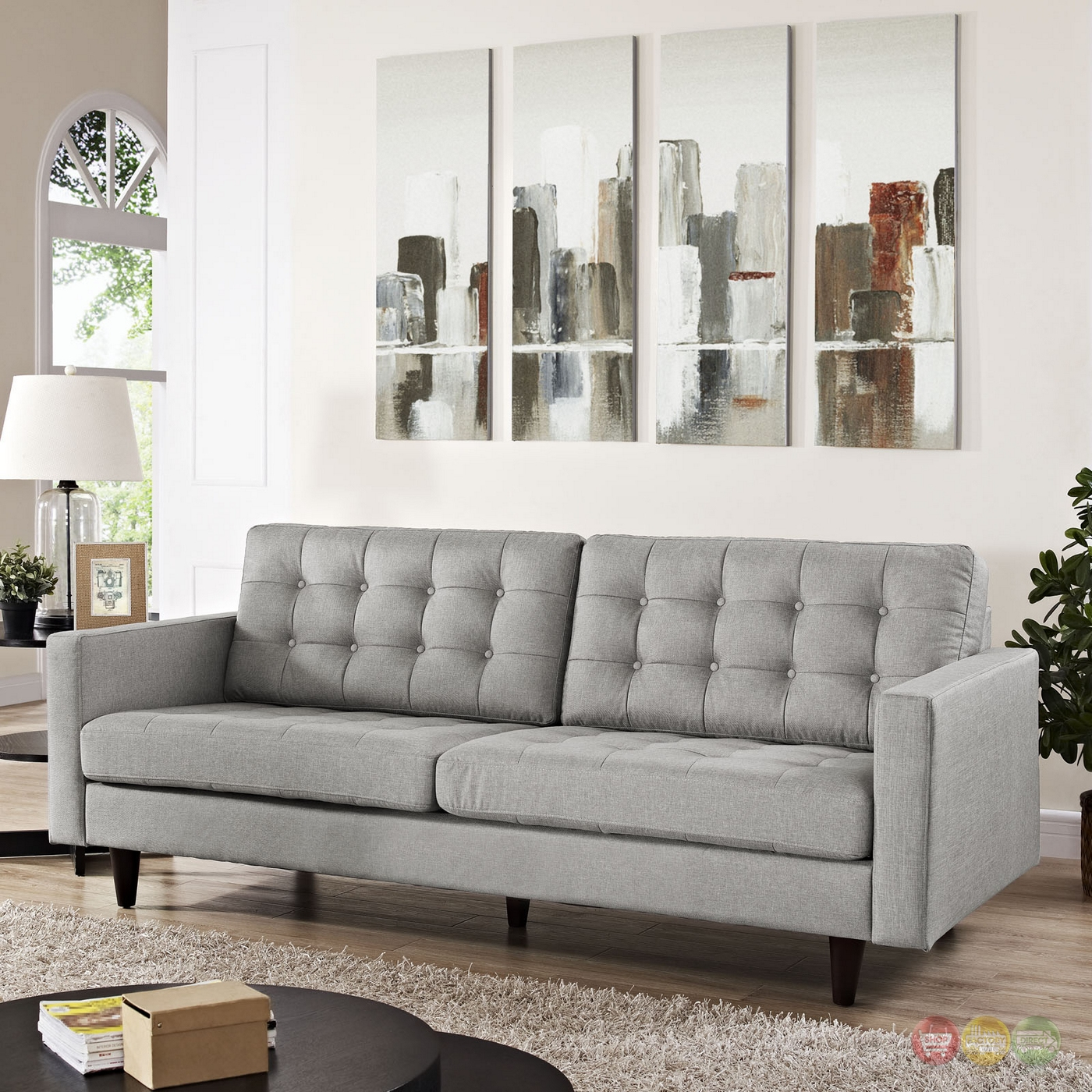 empress contemporary button tufted upholstered sofa  light