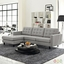 Mid-Century Modern Empress Left-facing Button-Tufted Sectional Sofa, Light Gray