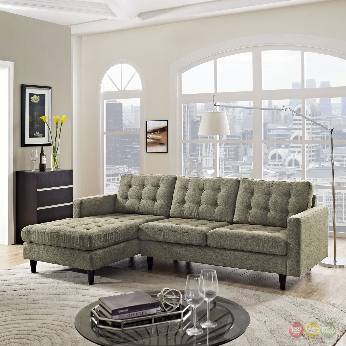 Mid Century Modern Sectional: Mid-Century Modern Empress Left-facing Button-Tufted