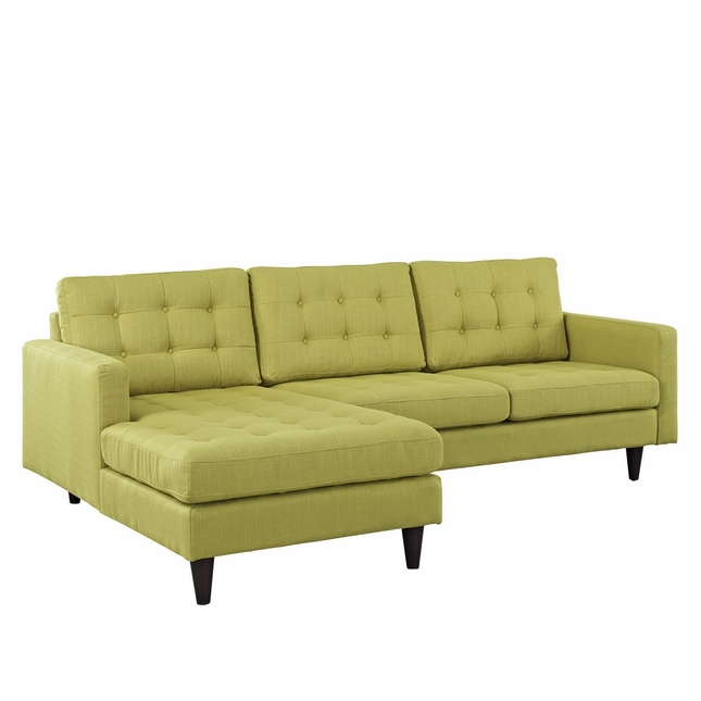 Mid-Century Modern Empress Left-facing Button-Tufted Sectional Sofa, Wheatgrass