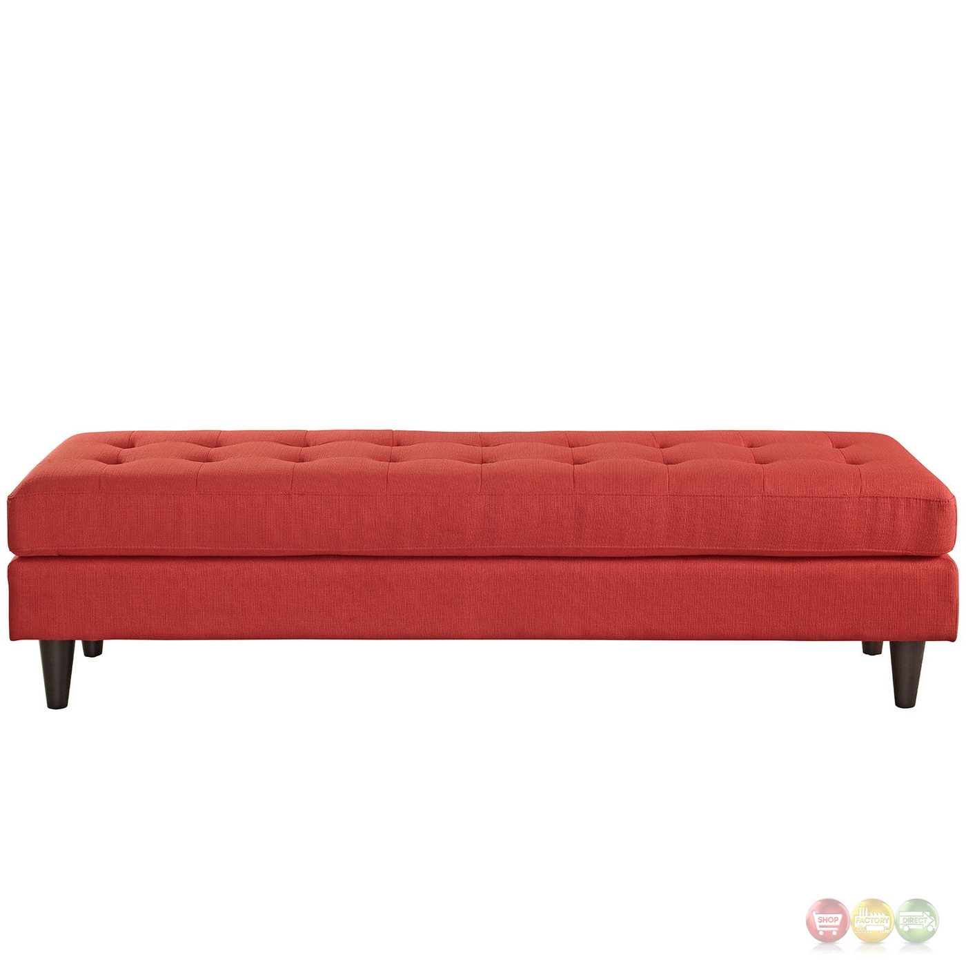 Empress Mid Century Modern Bench With Button Tufted Upholstery Atomic Red