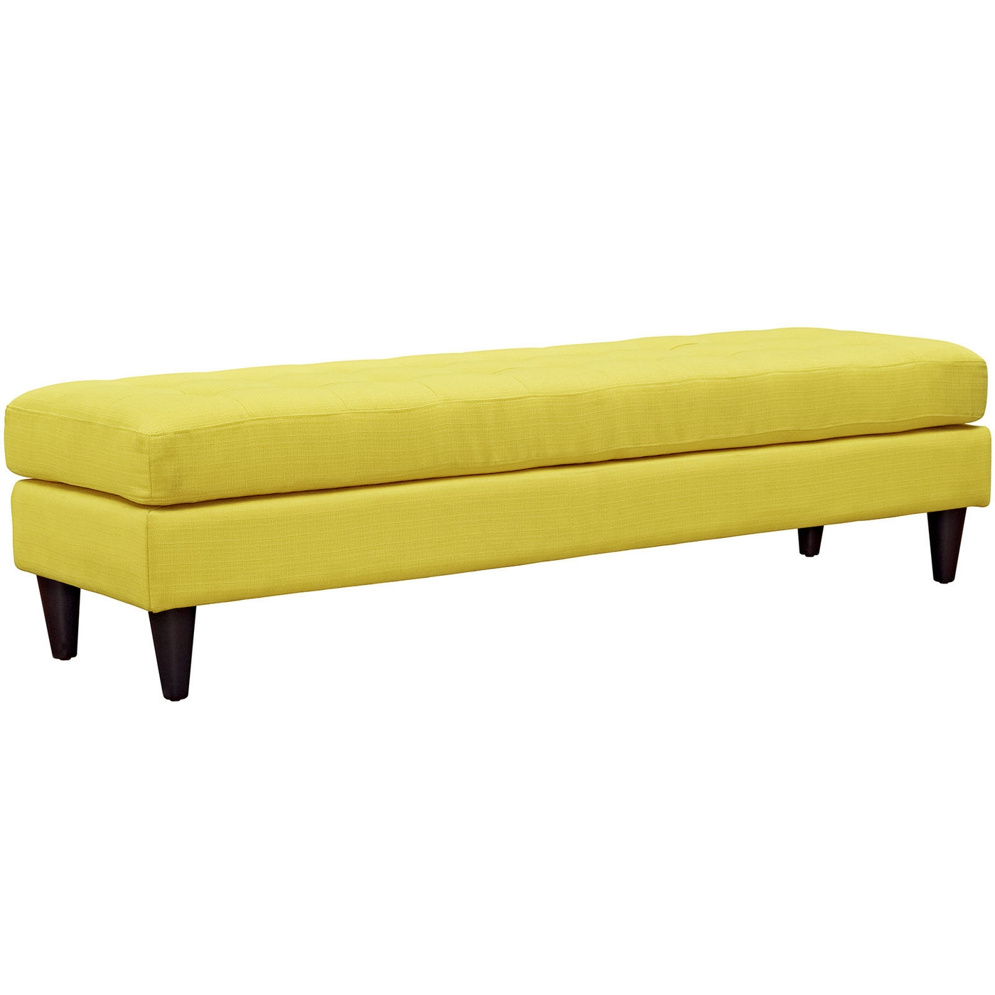 Empress Mid Century Modern Bench With Button Tufted Upholstery Sunny
