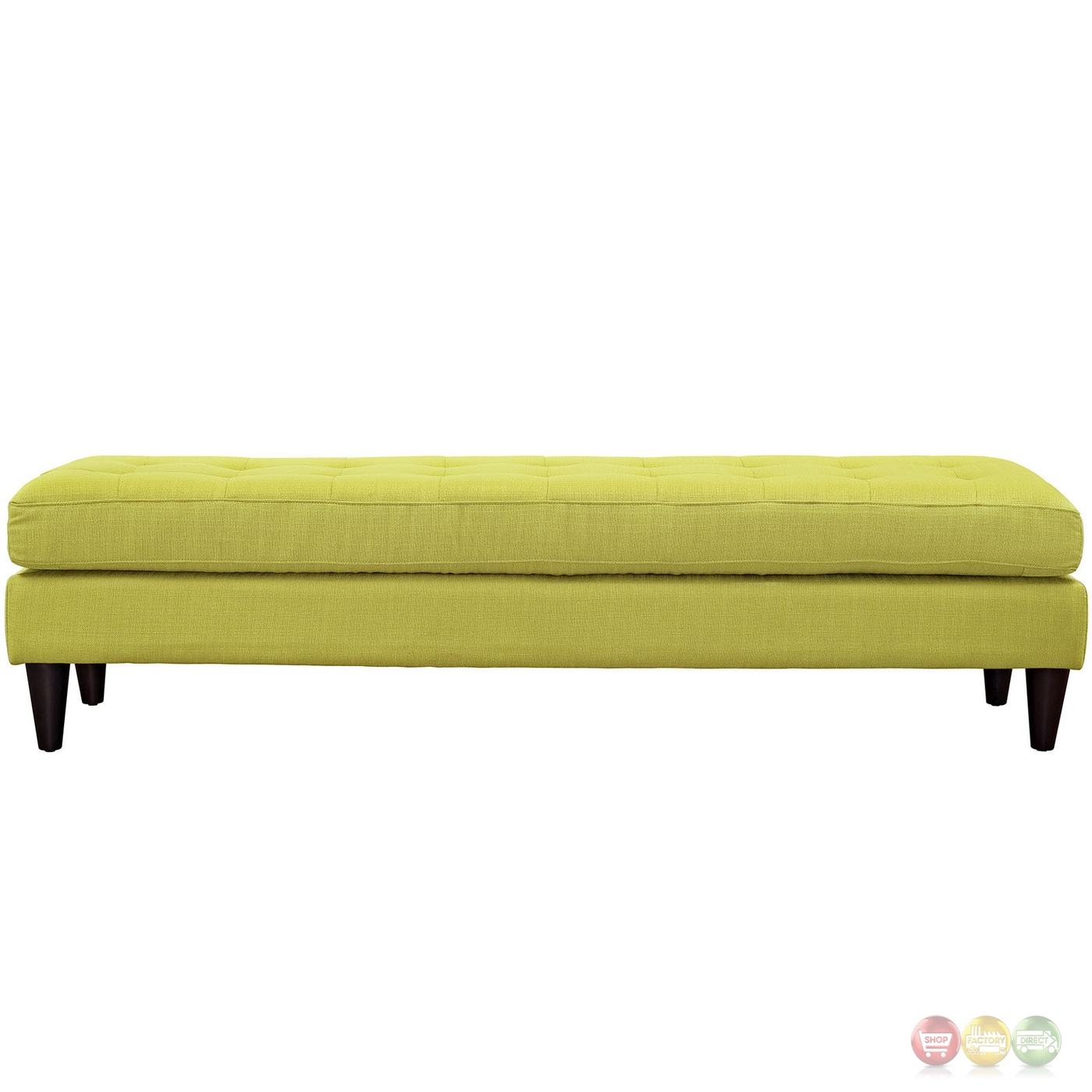 Empress Mid Century Modern Bench With Button Tufted Upholstery Wheatgrass