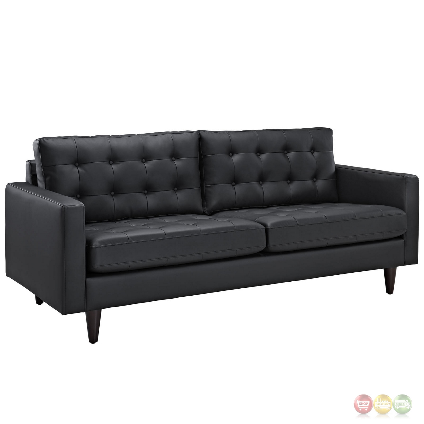 empress modern 2pc button tufted leather sofa and armchair set black. Black Bedroom Furniture Sets. Home Design Ideas