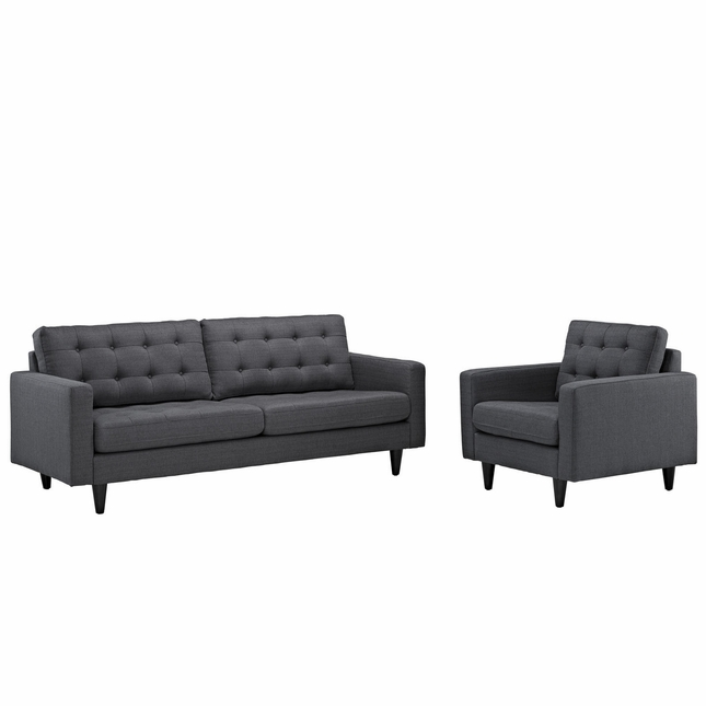 Mid-Century Modern Empress 2pc Button-Tufted Fabric Sofa & Armchair Set, Gray