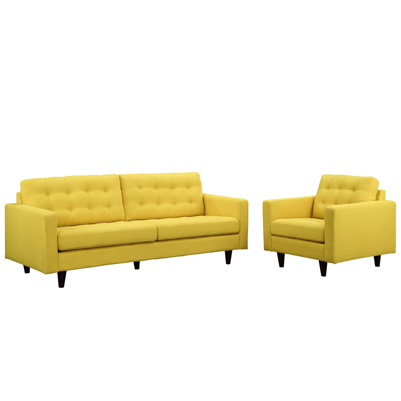 Empress modern 2pc button tufted leather sofa and armchair for Tufted couch set