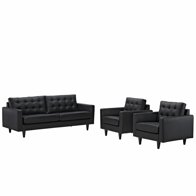 Mid-Century Modern Empress 3pc Button-Tufted Leather Sofa & Armchair Set, Black