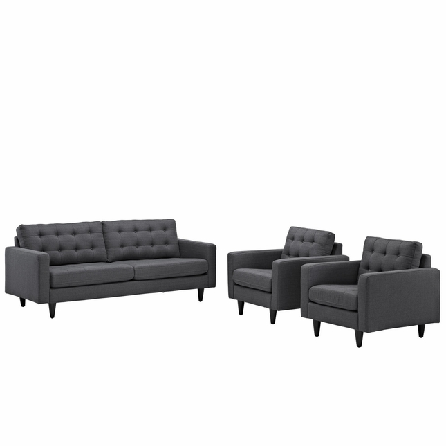 Mid-Century Modern Empress 3pc Button-Tufted Fabric Sofa & Armchair Set, Gray