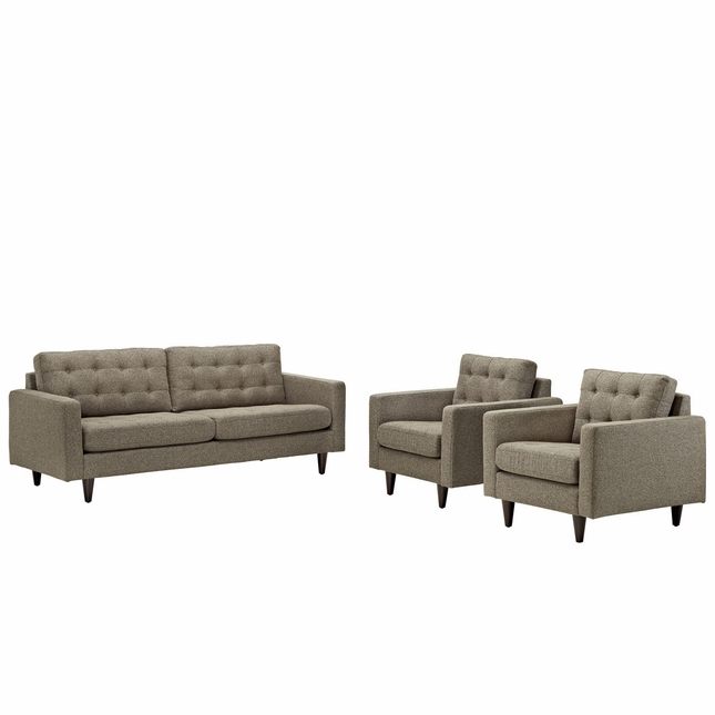 Mid-Century Modern Empress 3pc Tufted Leather Sofa & Armchair Set, Oatmeal