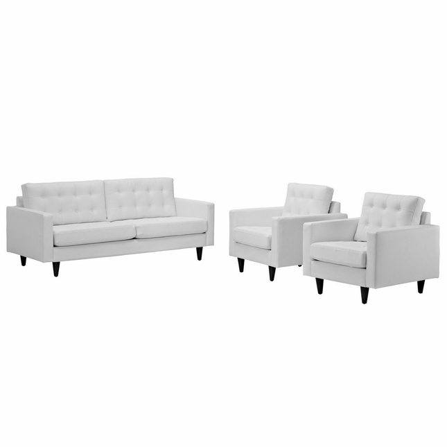 Mid-Century Modern Empress 3pc Button-Tufted Leather Sofa & Armchair Set, White