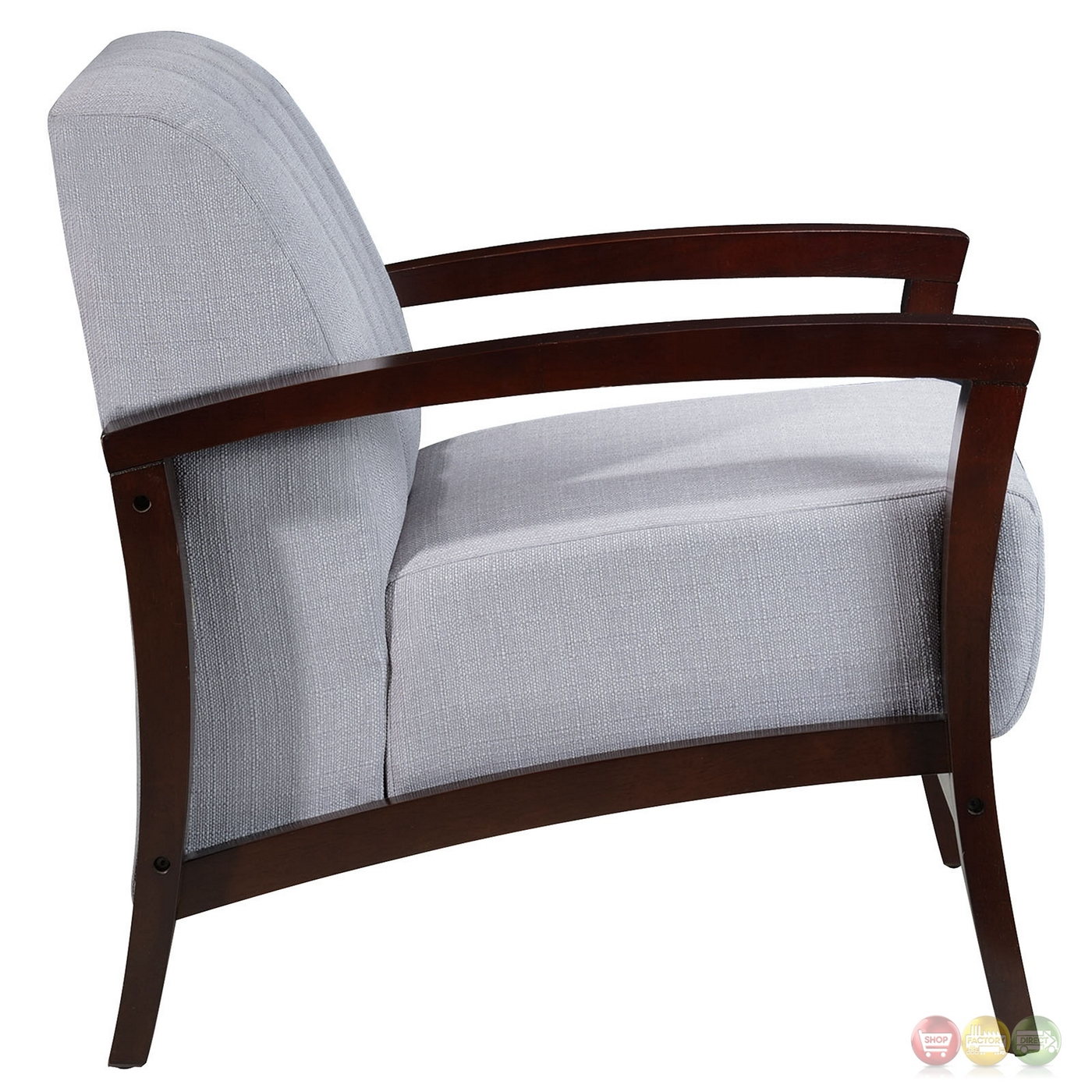 Enamor modern upholstered armchair with solid wood base for Armchair builder
