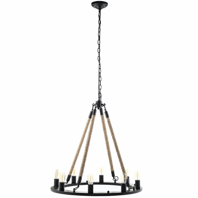 Encircle Modern Round Suspension Bridge-inspired Chandelier, Black
