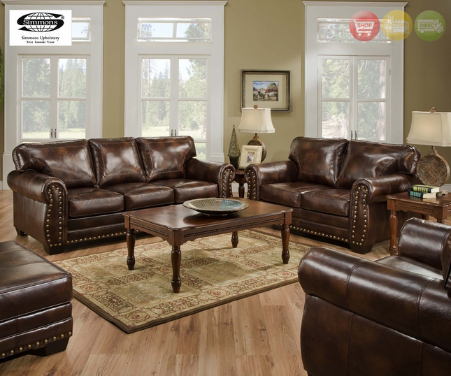 Charming Encore Vintage Brown Bonded Leather Sofa Set W/ Bombe Arms U0026 Nailhead  Accents