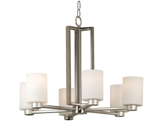 Encounters Six Light Chandelier Brushed Steel Finish