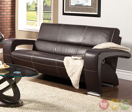 Contemporary Living Room Set In Black Red Or Cappuccino: Enez Modern Espresso Living Room Set With V-Shape Arms SM6011