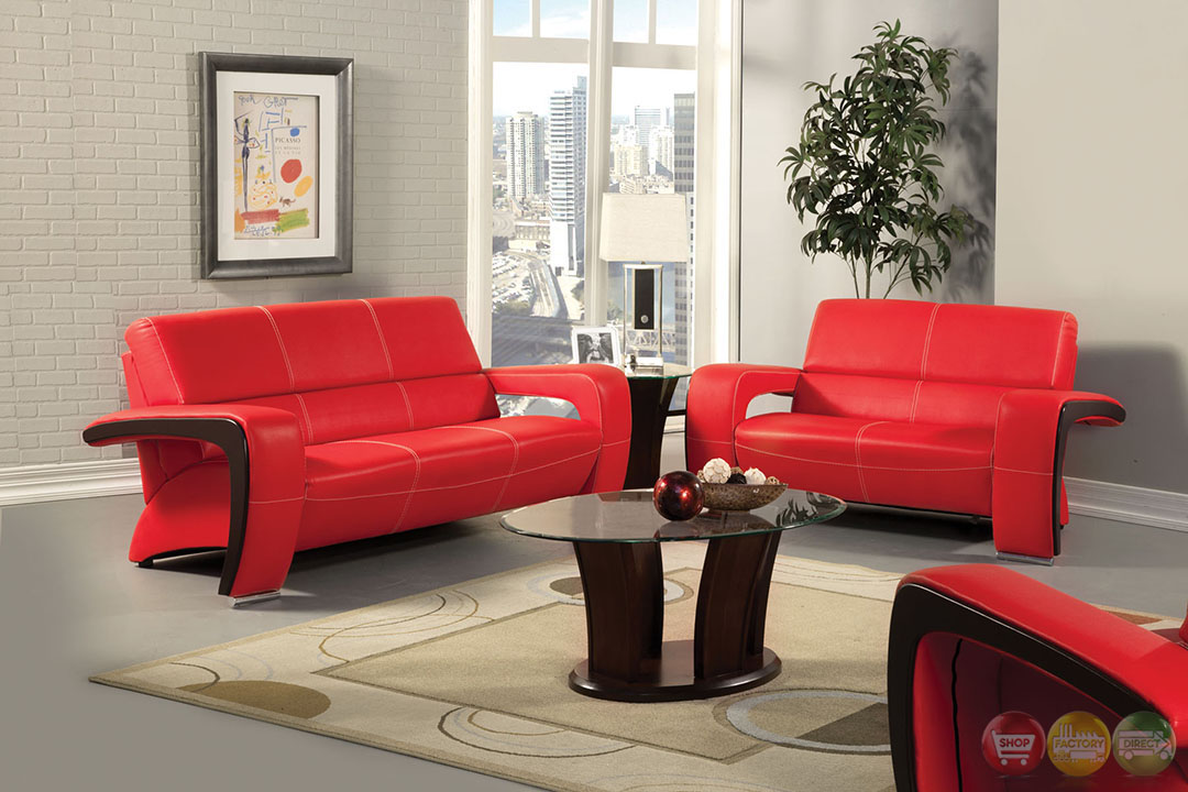 enez modern red and black living room set with v shape