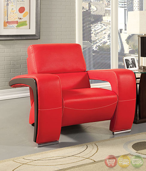 Contemporary Living Room Set In Black Red Or Cappuccino: Enez Modern Red And Black Living Room Set With V-Shape