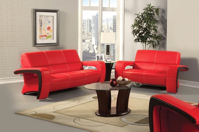 Enez Modern Red And Black Living Room Set With V Shape Arms SM6012