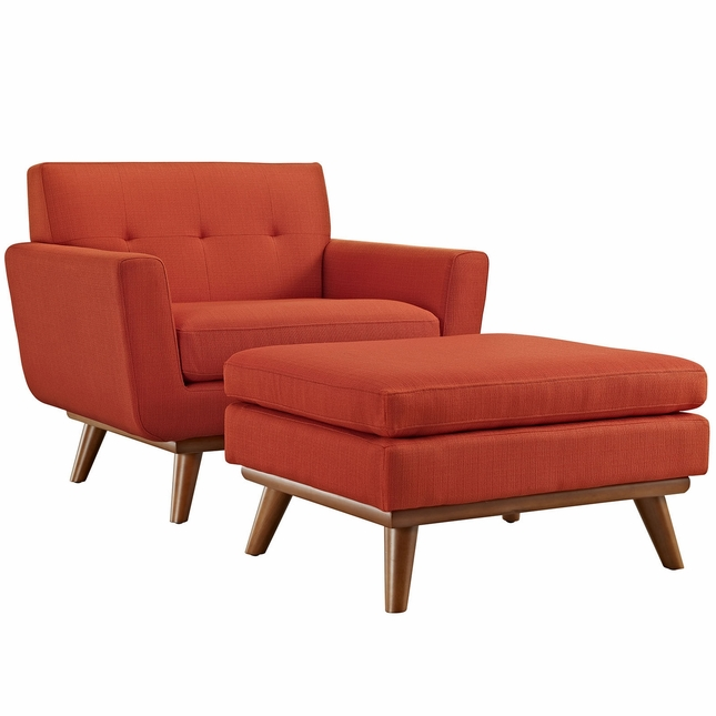 Mid Century Modern Engage 2pc Armchair U0026 Ottoman W/ Button Accents, Atomic  Red