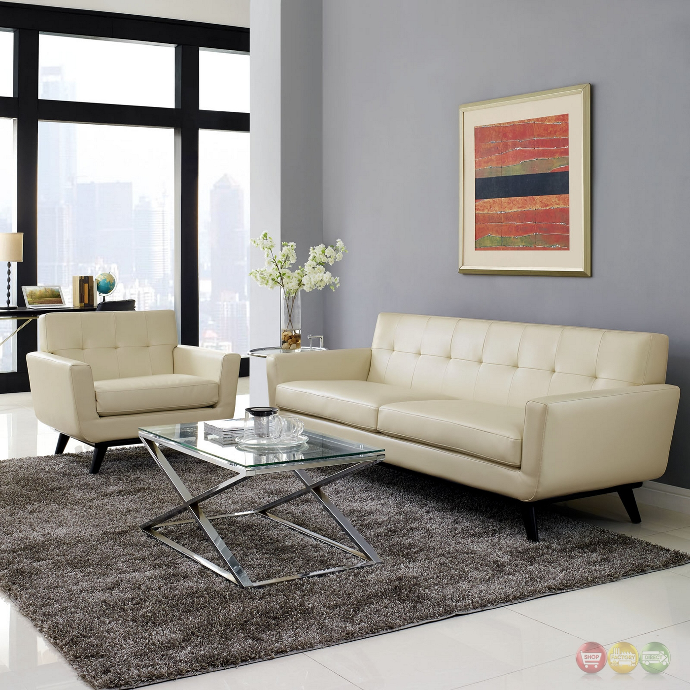 engage contemporary 2pc button tufted leather living room set beige. Black Bedroom Furniture Sets. Home Design Ideas