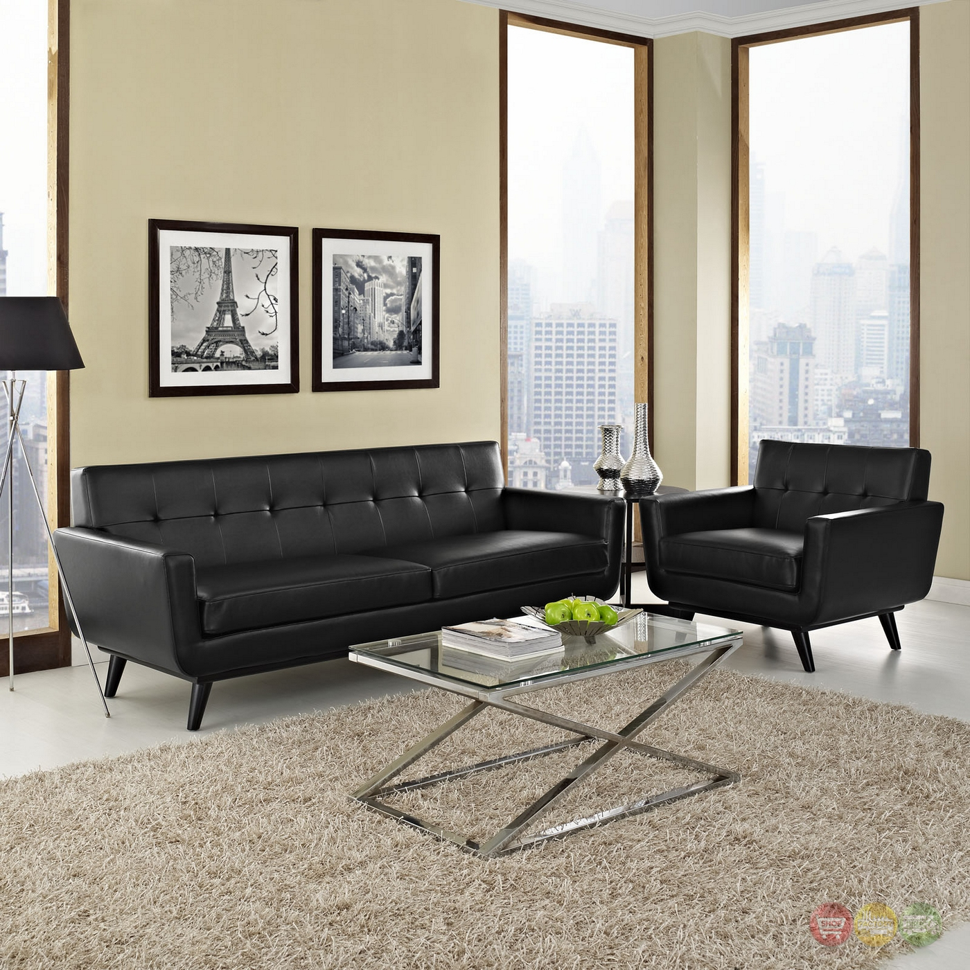 715l black and white leather contemporary living room mid century modern engage 2pc button tufted leather living room set black