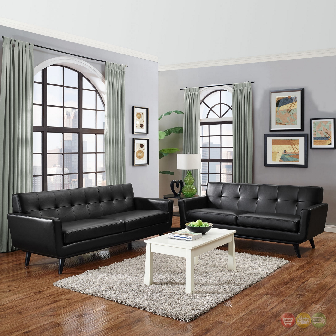 engage contemporary 2pc button tufted leather living room set black. Black Bedroom Furniture Sets. Home Design Ideas