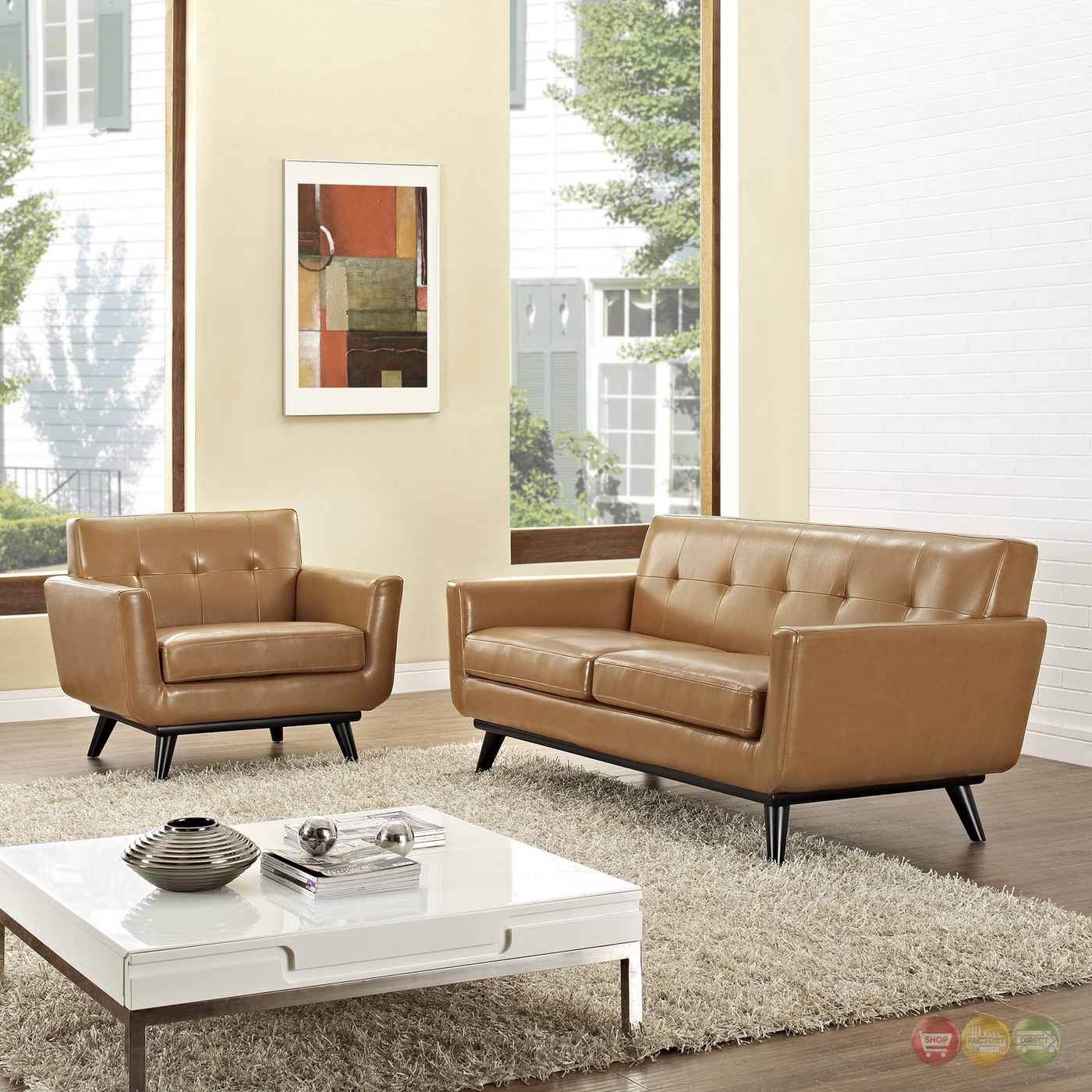 Engage Contemporary 2pc Button Tufted Leather Living Room Set Tan