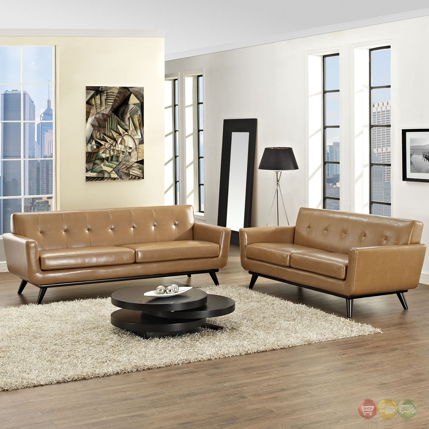 engage contemporary 2pc button tufted leather living room set tan. Black Bedroom Furniture Sets. Home Design Ideas